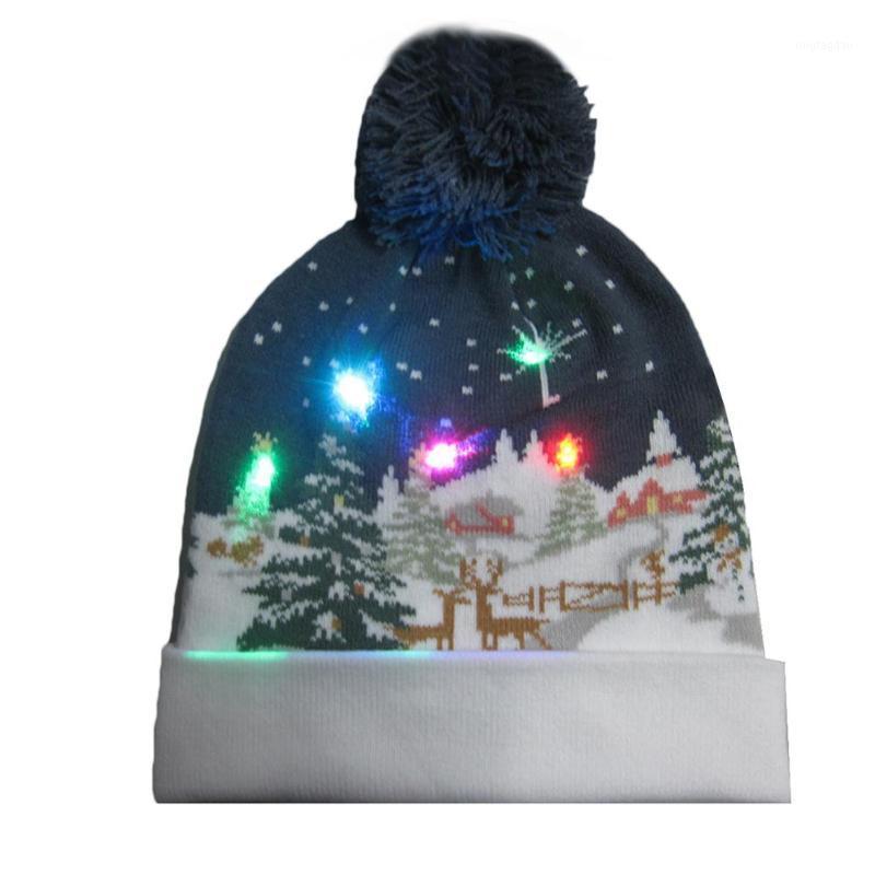 Weihnachtsdekorationen LED-Licht Strickmütze 2021 Merry Dekoration Santa Claus gemusterte Jahr Geschenk Winter warm für Kinder1