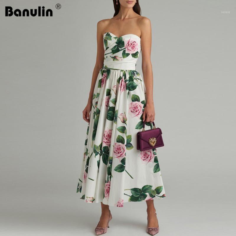 Banulina Verão Sexy Strapless Floral Impresso Midi Vestidos Para Mulheres Desenhista Runway Elegante Party Vestido Zomerjurk Dames 20201