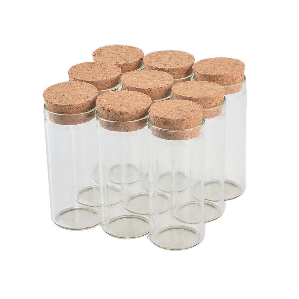 50 pezzi 30x70 mm 30ml piatto fondo di vetro Flaconi di tubetti con tappi di sughero Wishing Stelle Fiale decorativo Svuotare tè profumato vasetti