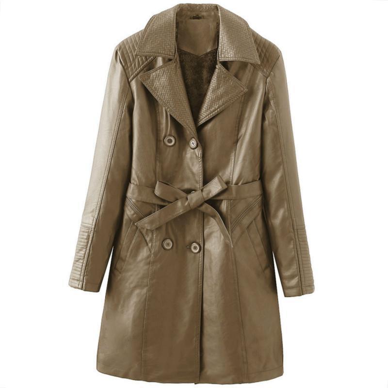 vêtements d'hiver Livraison gratuite femmes coupe-vent manteau trench noir en cuir PU pour les femmes, plus des vêtements de marque veste de velours 86615