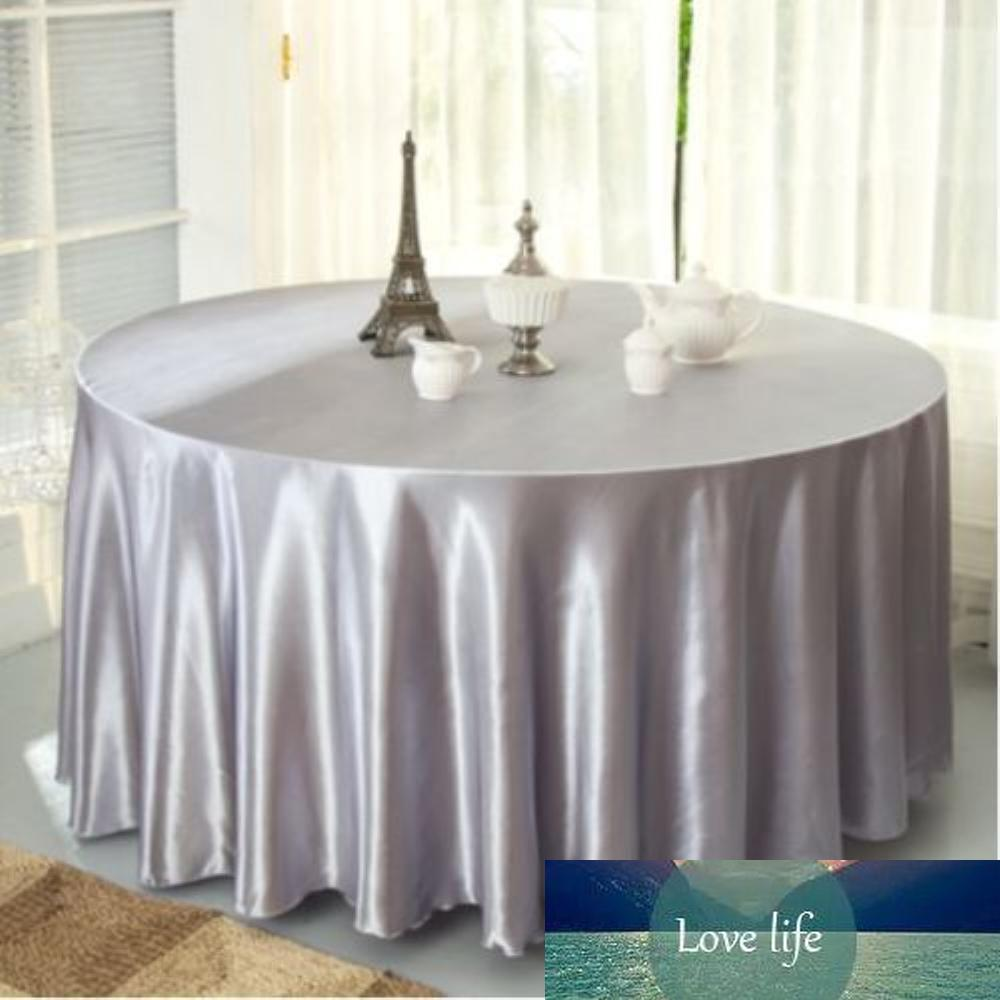 10pcs / paquete del color de plata 120 Cubierta Manteles Tabla pulgadas Ronda de raso de fiesta de la boda Restaurante Banquetes DecorationsSheet