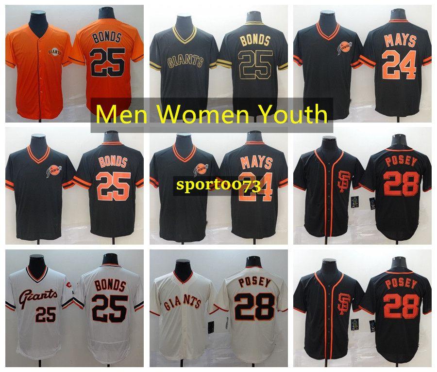 SanFranciscoGigantesJersey 25 BarryBonds Jersey 24 Willie Mays 28 Posey Baseball Jersey 1101