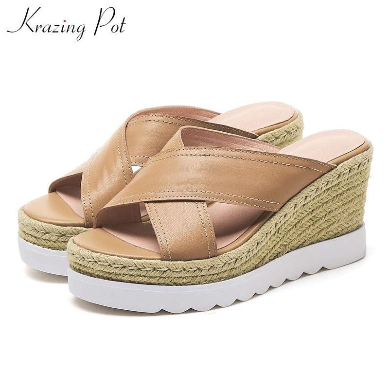 Krazing pot 2020 paille en cuir de mouton naturel fait sandales à modèle dailywear étanches simples européennes de talon L10