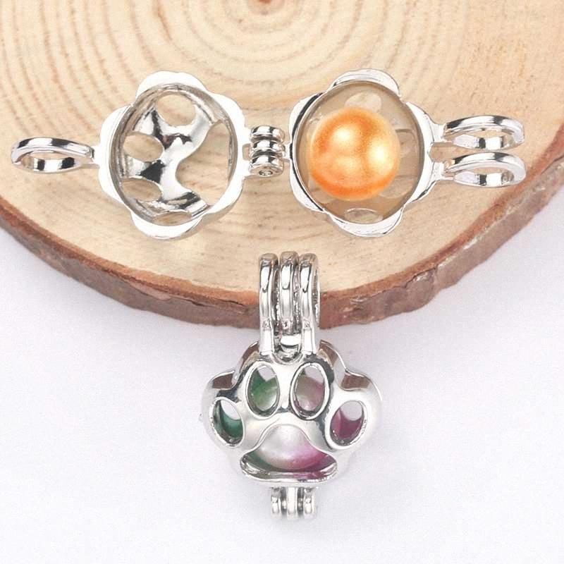 5pcs Plata Animal perla de la garra jaula colgante de joyería de fabricación de talones difusor del aceite Jaula collar de caja ostra perla regalo vWD8 #