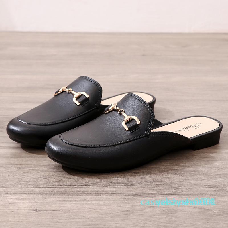 MOOREGOOD обувь Тапочки Туфли бездельники дамы 2020 сандалии покрытие ног мягкие плоские черные римские модели основной модели Y04