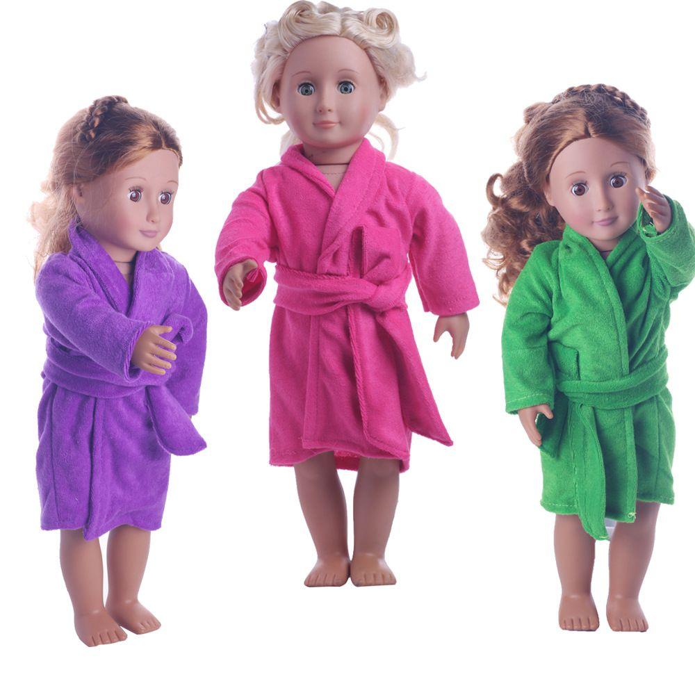 Escudo de manga larga de piel suave camisón Tops vestido de invierno cálido ropa de sport Accesorios de ropa por 18 pulgadas muñeca Barbie niños de juguete