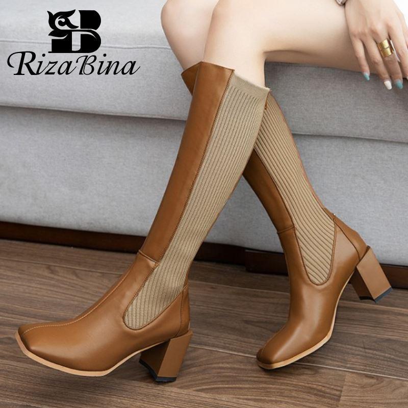 RIZABINA Echtes Leder Frauen Stiefel Warm Fashion High Heel Winterschuh Frau Elastic-quadratische Zehe Lange Stiefel Schuhe Größe 33-40