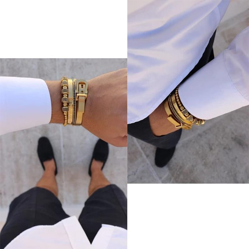 Männer Armbänder 4 teile / satz heiße männer titanium stahl römische ziffer armband hufeisen schnalle armreifen pulseira bibklik luxus handgefertigte schmuck