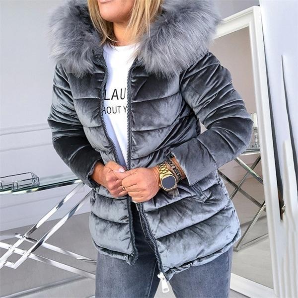 Chaqueta de terciopelo de invierno Mujer de algodón chaquetas acolchadas gris rosa mas tamaño 4xl capó collar de piel gruesa moda fresca ropa exterior C1031