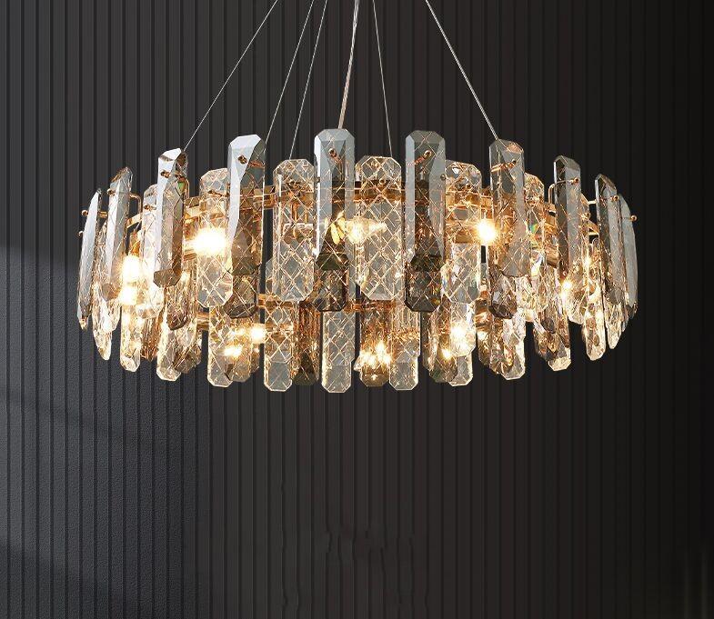 Postmodern K9 Cristallo Lampadario LED Lampadario Lampadario Pranzo Ristorazione Soggiorno E14 Nuova lampada a sospensione Appeso Camera da letto Lobby Home Deco Fixtures