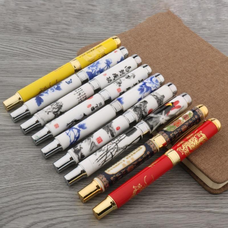 1 stück Hohe Qualität Metall Keramik Stift Chinesische Malerei 0.5mm Schwarze Tinte Nachfüllen Writing Rollerball Stift