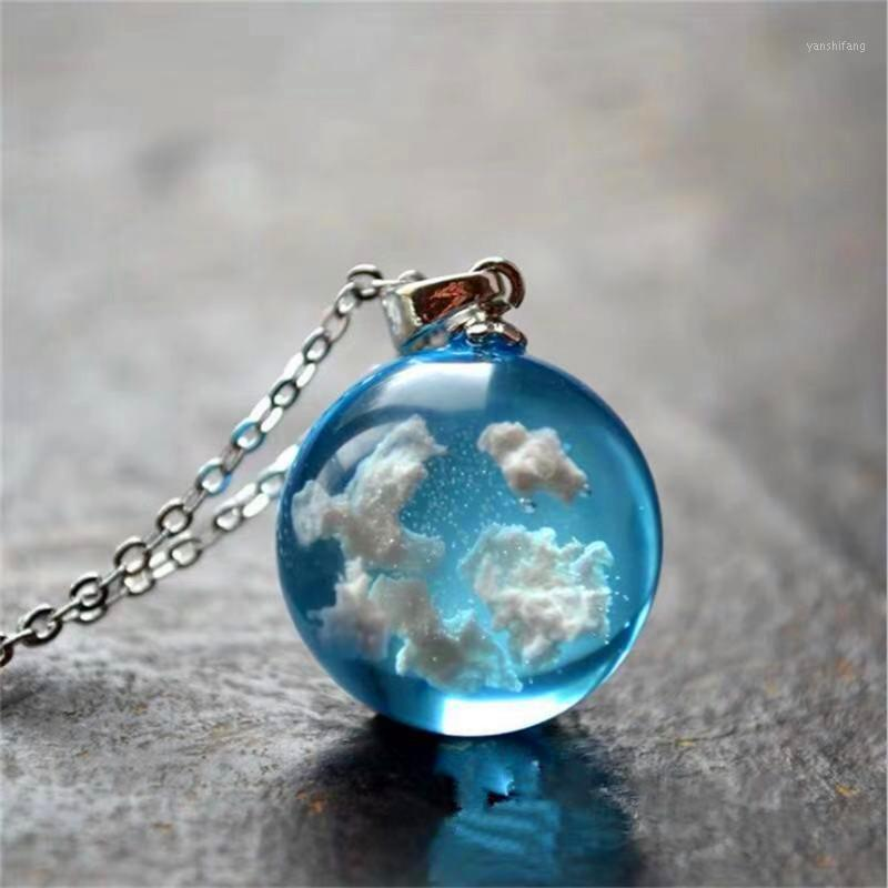 Blaike Creative Handmade Jóias Céu azul Nuvens Branco Nuvens Transparente Resina Esférica Pingente Colar 925 Colar de Prata1
