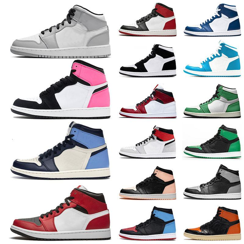 Top Quality 1 Mens Women Basketball Shoes Mid Smoke Grey High Obsidian Chicago Low Trainers Sports Sneakers