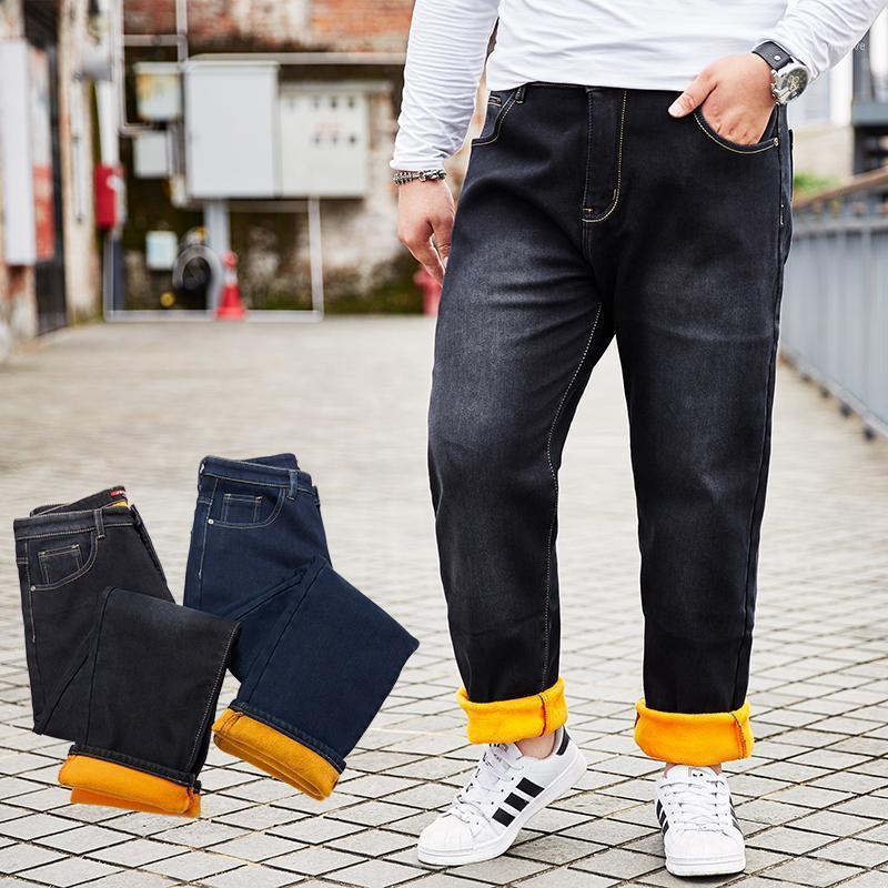 Winter Thick Men Business Blue & Black Casual Straight Jeans Fleece Warm Velvet Cotton Classic Denim Jeans Trousers Plus Size 581