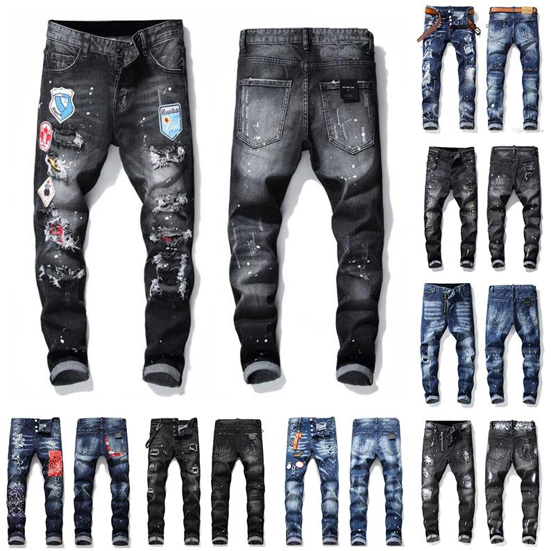 21ss Mens Badge Rips Stretch Designer Jeans Distressed Ripped Biker Slim Fit Washed Motorcycle Denim Men s Hip Hop Fashion Man Pants