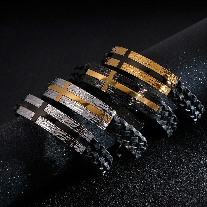 P2nWi Chaonan courbée en acier plaque transversale en cuir bracelet de conception de motif de battement simples bracelet de titane braceletcowhide tissé en acier inoxydable