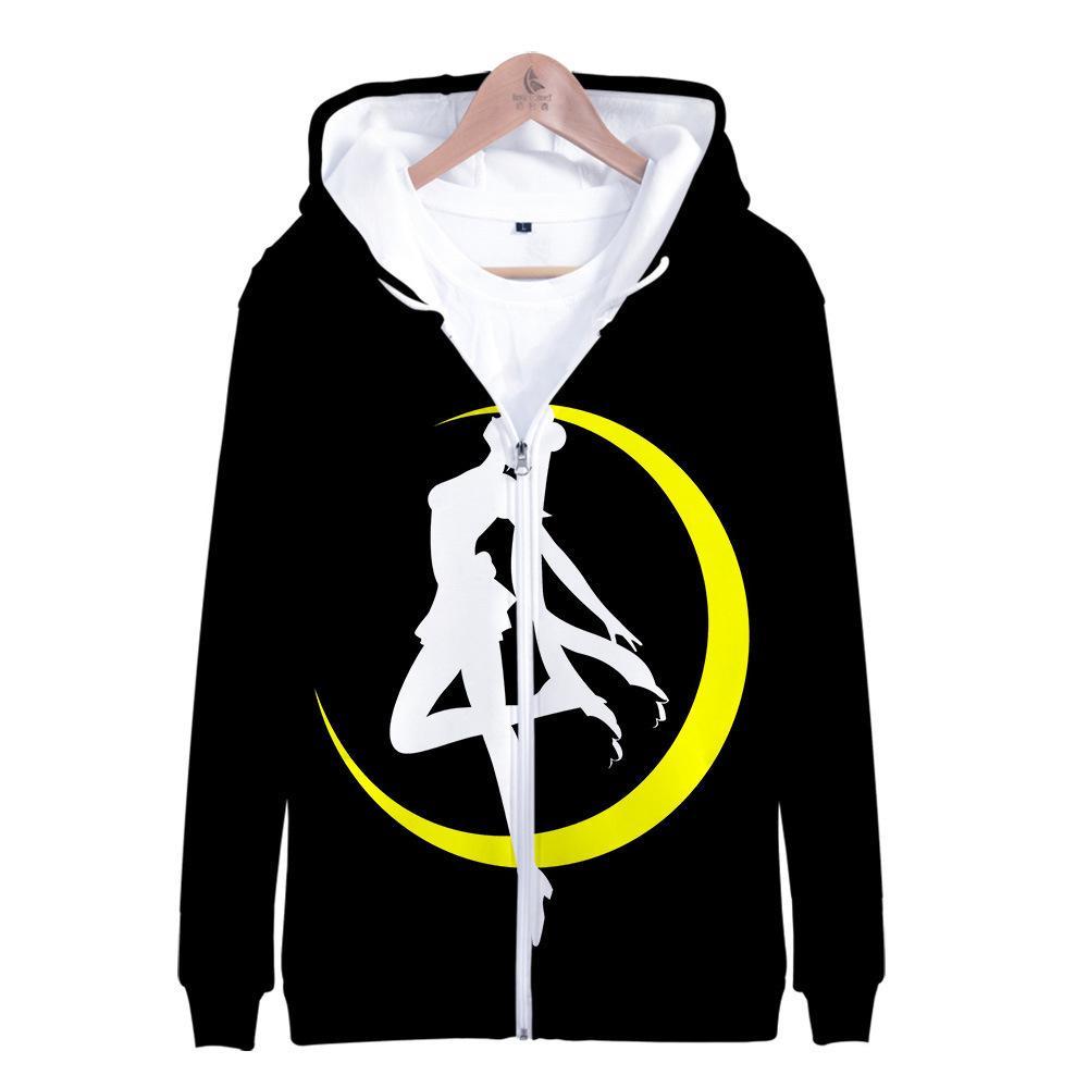 Soopieda con capucha de la luna de marinero para mujer niña niño sudadera con capucha chaqueta con capota capa de cremallera Anime Sailormoon Ropa Ropa Y200706
