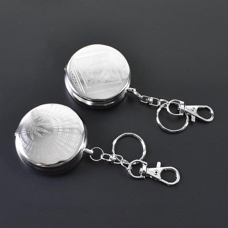 Silver color 5*1.7CM Fashion Pocket Stainless Steel Portable Round Cigarette Ashtray With Keychain Christmas Gift Party Gift HHA3474