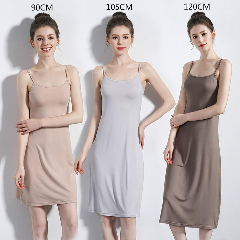 Женские спящие одежды Летние женщины скольжения платье длинный тонкий ремешок без рукавов 2021 внутренняя высокая качественная нижняя юбка изготавливания плюс размер подмышек