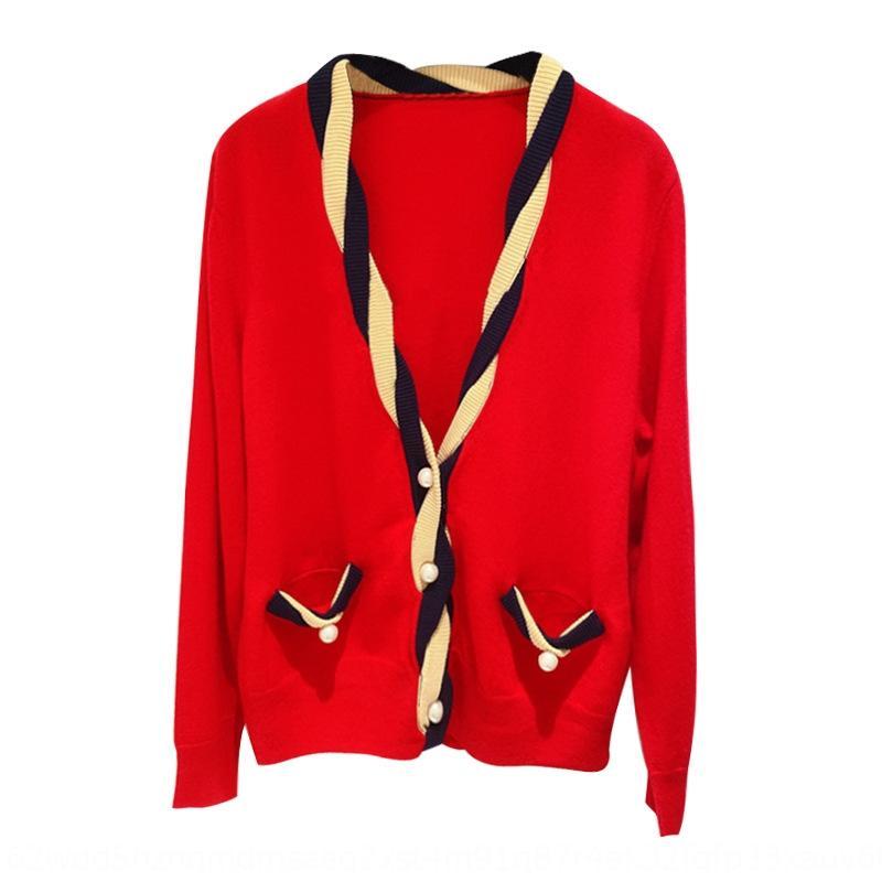 S stile familiare maglieria redhandmade torsione a maglia perla pulsante di lana con scollo a V cardigan in cashmere pulsante pelliccia cardigan cardiganstyle 20383 L0qt0