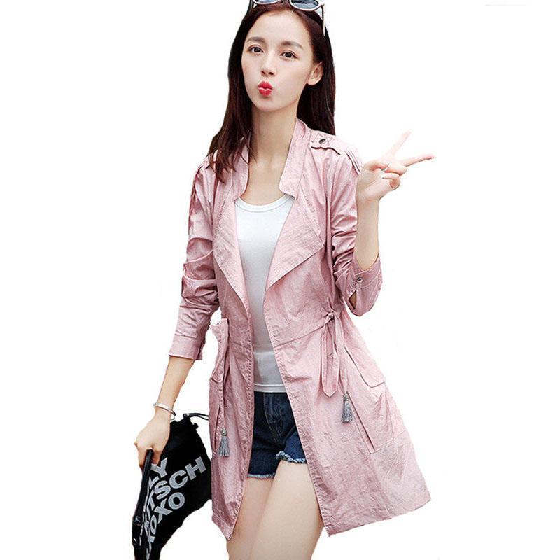 Dünne Windjacke Frauen-Frühlings-Sommer-dünne Licht-Mantel 2020 Single Layer-Revers Lace Up Sonnenschutz Tops Damen-Hemd Jacke F590