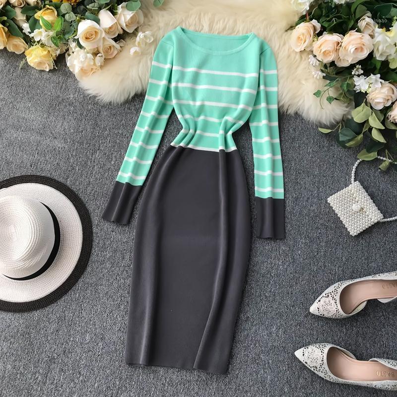 Autumn Winter Bottom Dress Female 2019 New Korean Fashion Patchwork Color Striped Dresses Waist Tube Knit Bodycon Vestidos LS2321