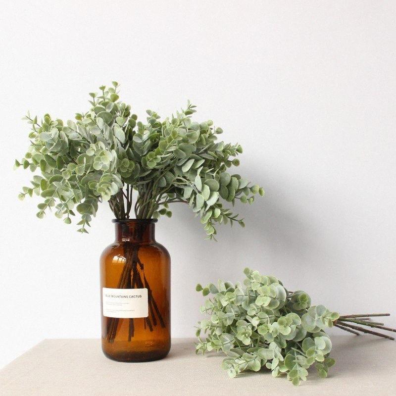 La simulación artificial de la planta de hojas de eucalipto dinero decorativos accesorios de color verde flor floral ramo disposición 2Ngk #