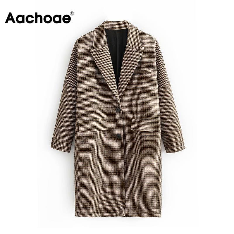 Aachoae Fashion Winter Plaid Long Coats Women Single Breasted Casual Jackets For Ladies Vintage Elegant Long Sleeve Pockets Coat 201102