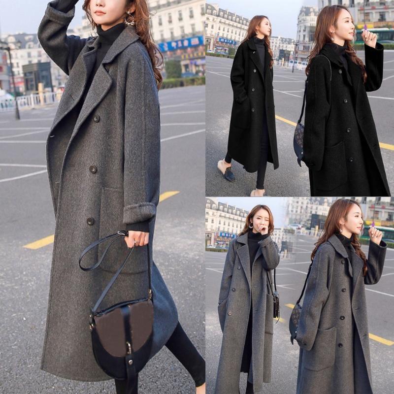여성용 자켓 Womail Coat 여성 2021 겨울 패션 긴 단색 버튼 옷깃 캐주얼 슬리브 없건 후드 오버 코트