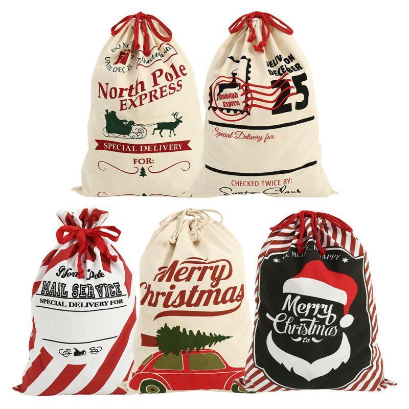Nouveaux 20x28 Jumbo Sacs en toile de Noël Coton Jute Père Noël Noël Sac de sucrerie de Noël Personnalisez sac cadeau ornements pour la maison
