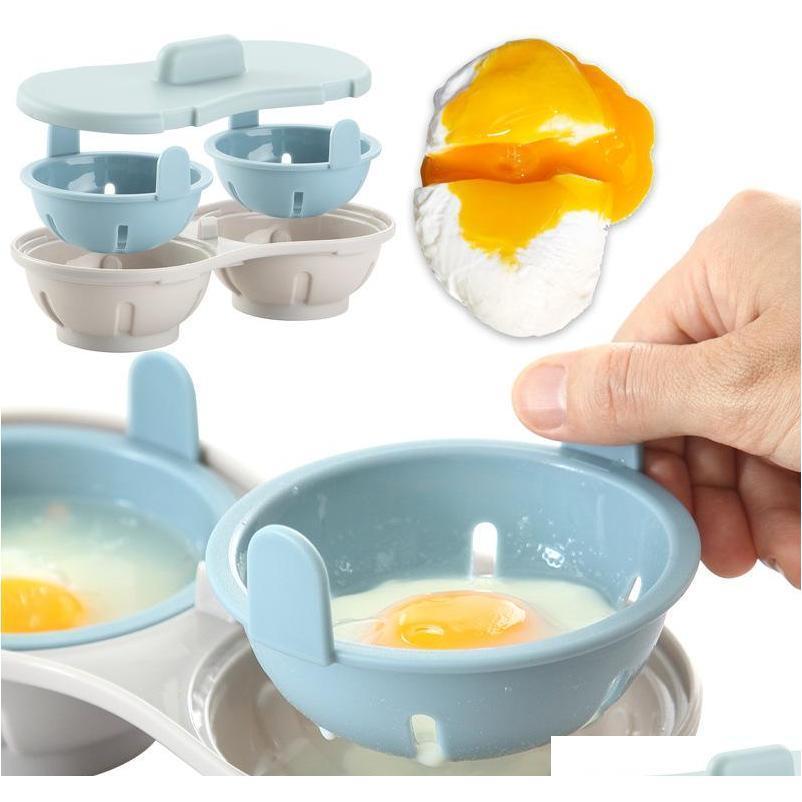 Microwave Egg Poacher Bpa Free & Dishwasher Safe Dual Caves Poached Egg Maker Double Cups Egg Cooker Ste jllcgu loveshop01