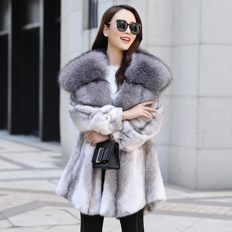 Futra damska Faux Luksusowa Moda High Mink Quality Coat Real Collar Kapturem Zagęścić Ciepła Kurtka Zimowa Abrigo ZJT431