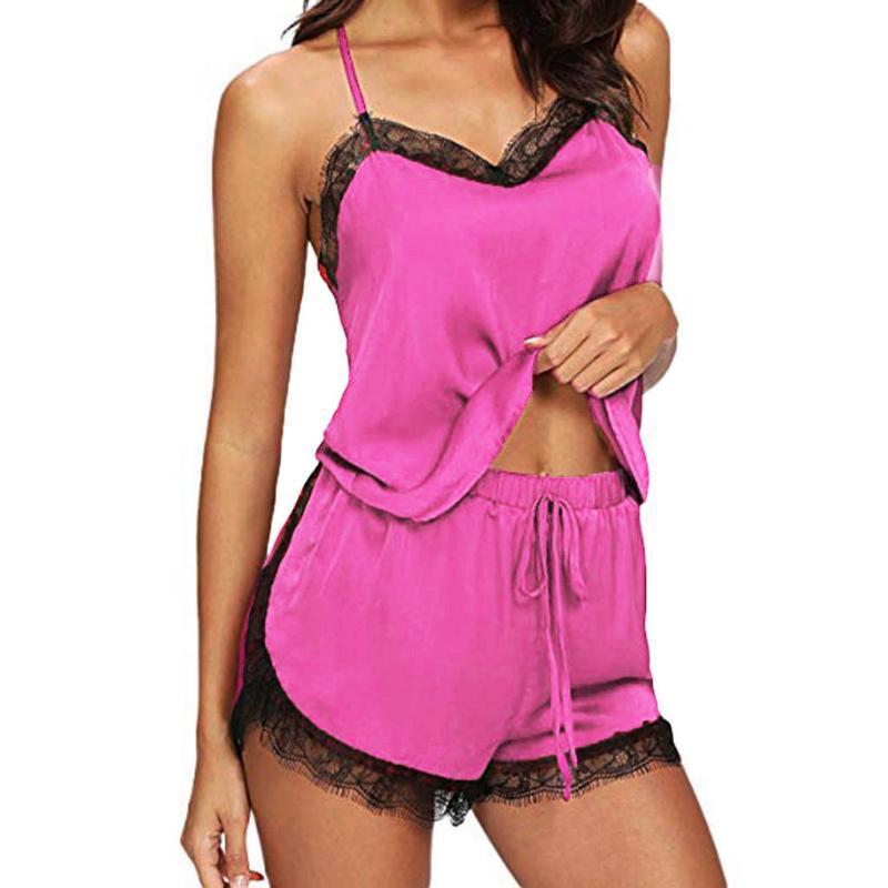 Modische Damen Nachtwäsche Sleeveless Bügel-Nachtwäsche Spitze-Ordnungs-Satin Top Pyjama Sets Damen Soft-Short Nachtwäsche # P40