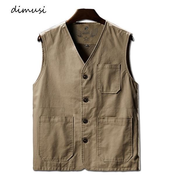 Coletes dos homens Verão DIMUSI Casual Man algodão respirável malha Vest mangas Jackets Man Outwdoor pesca Coletes Roupa 8XL C1021
