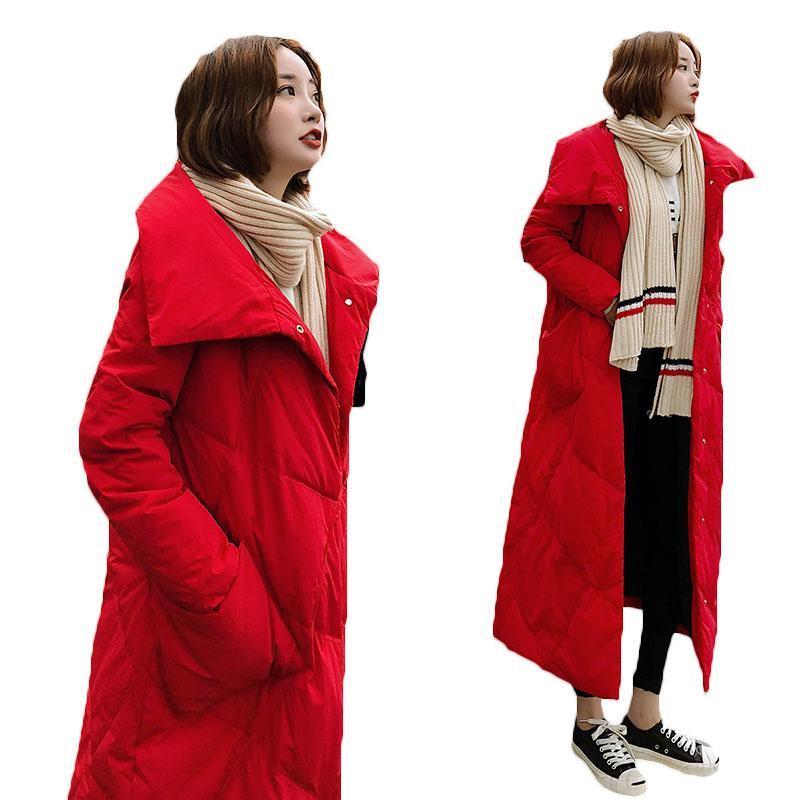 2020 зимние пальто Новый стиль более-колена вниз хлопка ватник для Slim женщин Длинные ветровки Корейский моды Зимние куртки g615