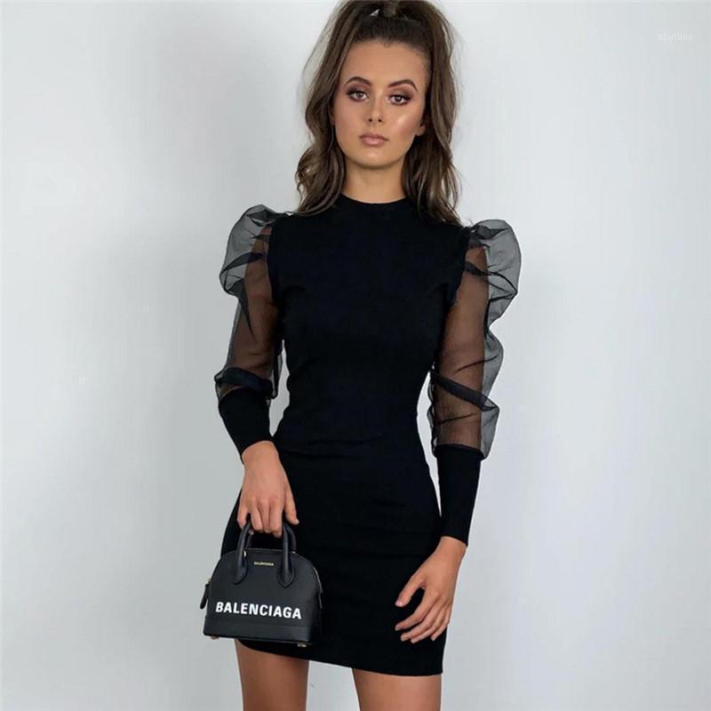 Ahagaga Summer Sexy Black Mesh Sheer Langarm Kleid Casual Slim Bleistift Kleid Streetwear Puff Sleeve Patchwork Kleider Vestido1
