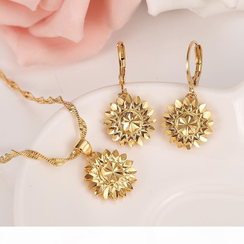 Dubai Äthiopisch Set Schmuck Halskette Anhänger Ohrring Mädchen Echt 18 K Solid Gelb Feingold GF Blume Europa Brautsätze