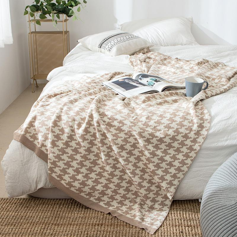 Qianniaoge Cotton Knitted Ins Wind Nordic Sofa Office Thin Nap Air Conditioning Blanket EO61
