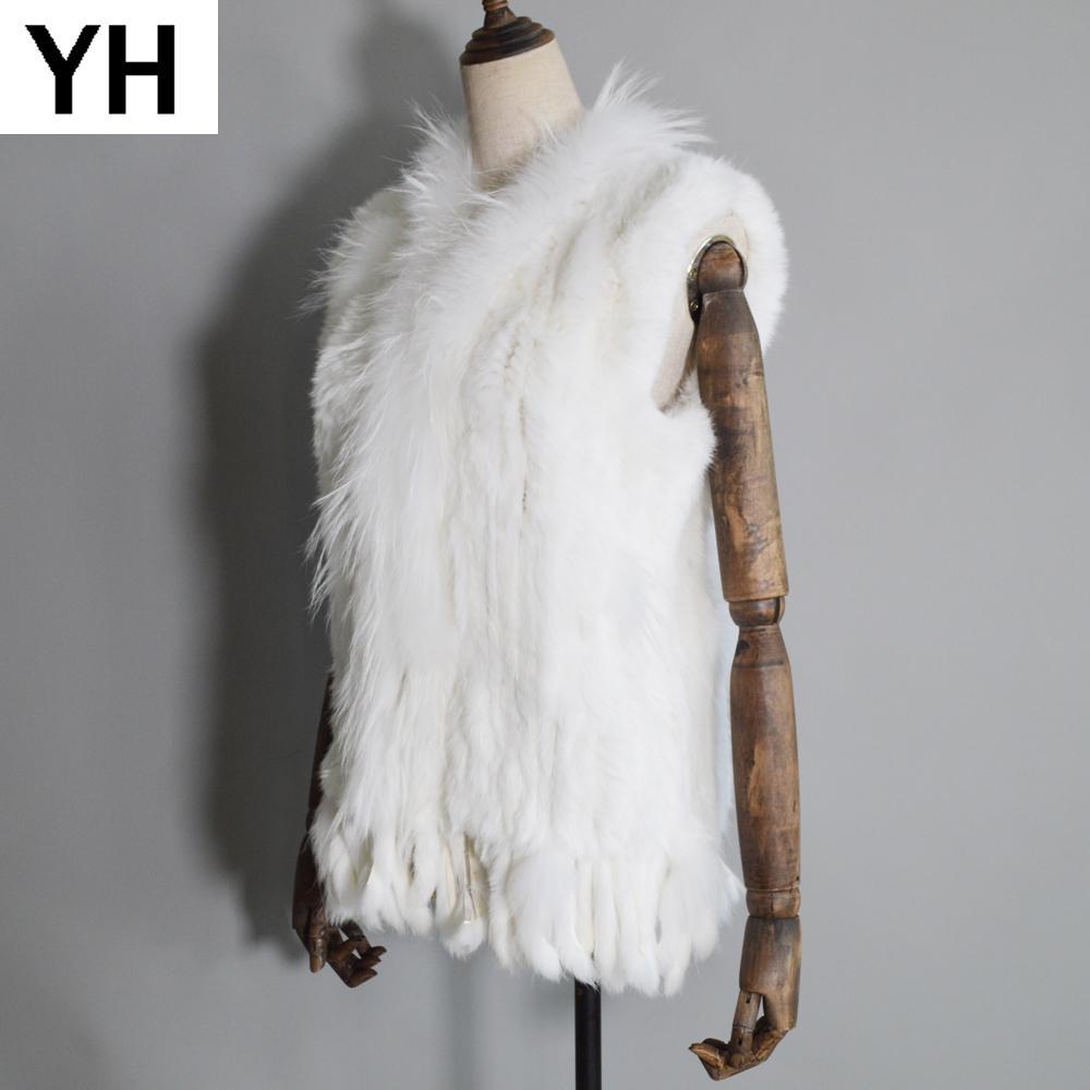 Женщины настоящий меховой жилет кролика ручной работы вязаные кисточки 100% настоящий настоящий подлинный кролика мех Gilet реальный енот меховой воротник Waistcoat 201103