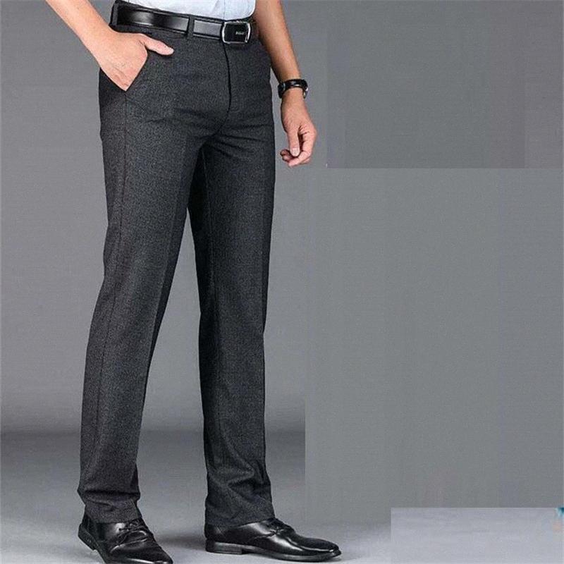 2020 2020 beiläufige Hosen-Kleid-Klage für Männer Fit dünnen Mann Geschäft Kleid Hose schwarz elastischer gerade Taille dünner Hosen i99l #