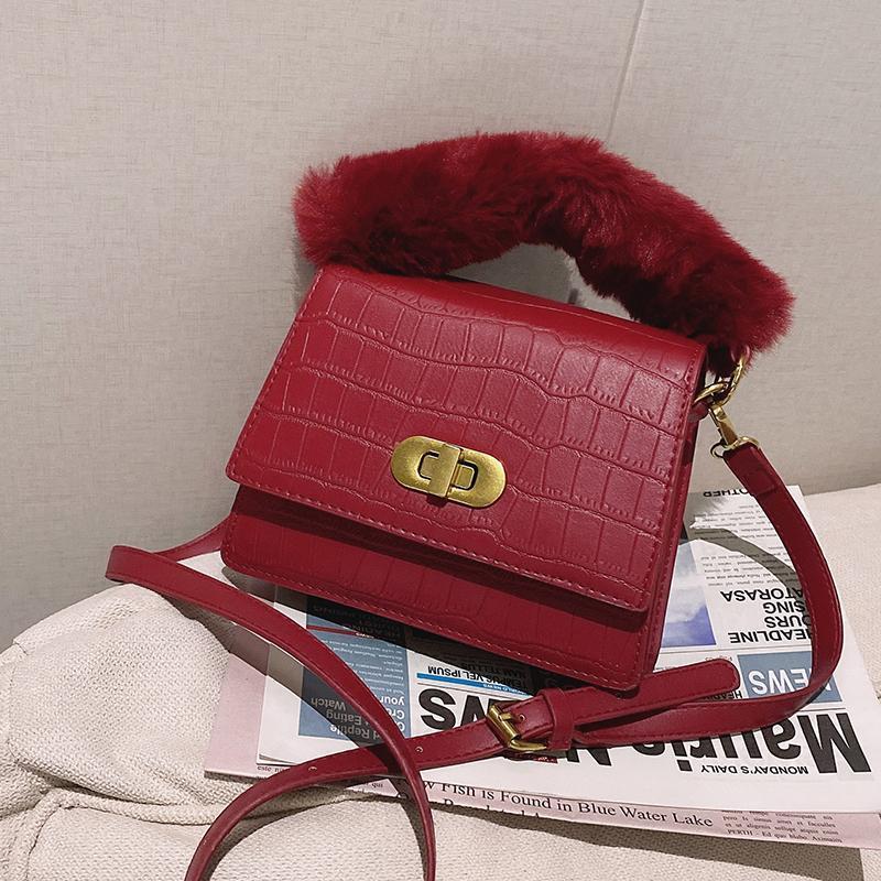 Hot Original Moda Quadrado Inverno Messenger Messenger Saco Portátil Textura Crocodilo Saco Padrão Design Simples Bolsas Largura: 19cm CPSAT