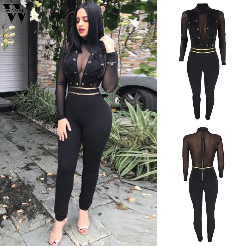 femmes salopette nouvel été noir sexy moulante à manches longues en dentelle Romper Jumpsuit élégant Mesh Épissurage Club Jumpsuit