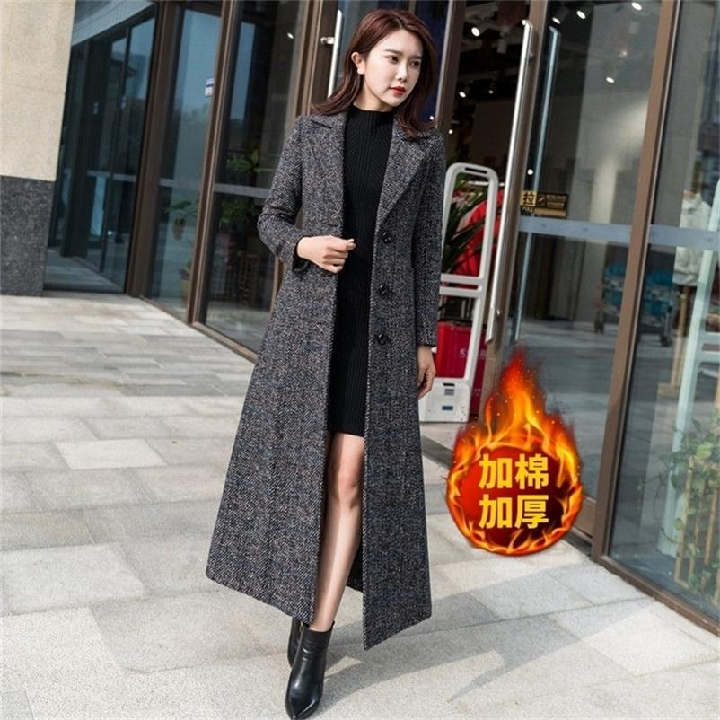 Fall / winter new Korean Plaid woolen coat for women with cotton thickened suit collar over the knee long slim women's long 201224