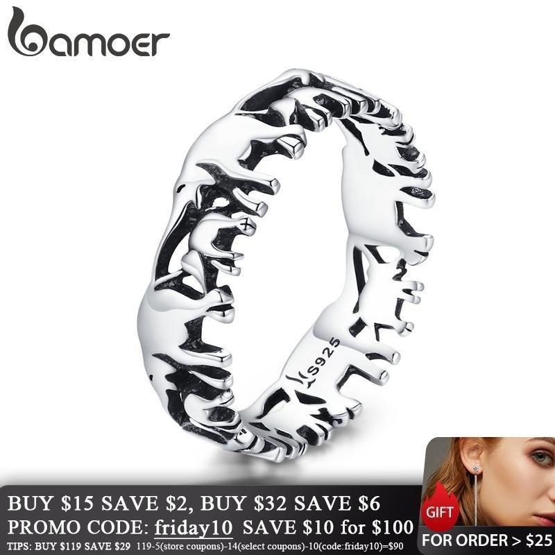 Bamoer 925 Ayar Gümüş İstiflenebilir Hayvan Koleksiyonu Fil Aile Parmak Yüzük Kadınlar için Jewelyr SCR344 V191202