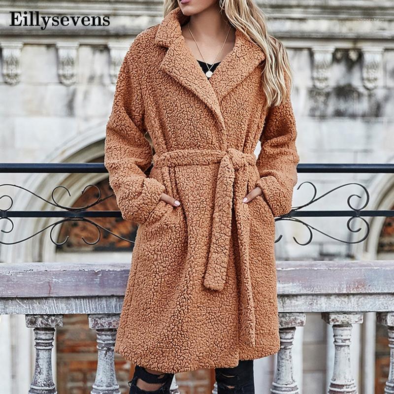 Женская шерстяная смесь длинные пальто русские куртки зимнее теплое тедди пальто кардиган офис леди сексуальные женщины полные вершины пальто плюс размер # 21