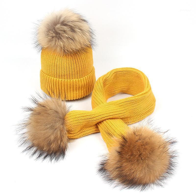 Dollplus Neue Mode Neugeborene Hut Waschbär Pelz Ball Warme Pompoms Kinder Mützen Schal Kinder Jungen Mädchen Gestrickt Hüte1