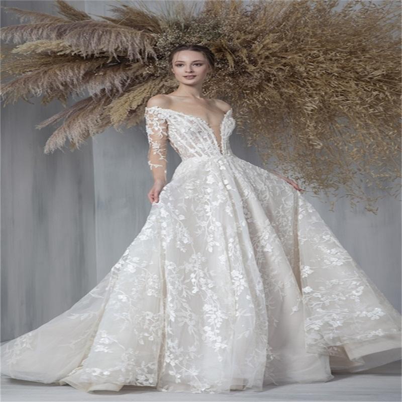 Robes de mariée à manches longues florales Dentelle appliquée à la dentelle Chic Beach Robes de mariée balayer Robes Sexy Sheer De Mariée Boho Custom