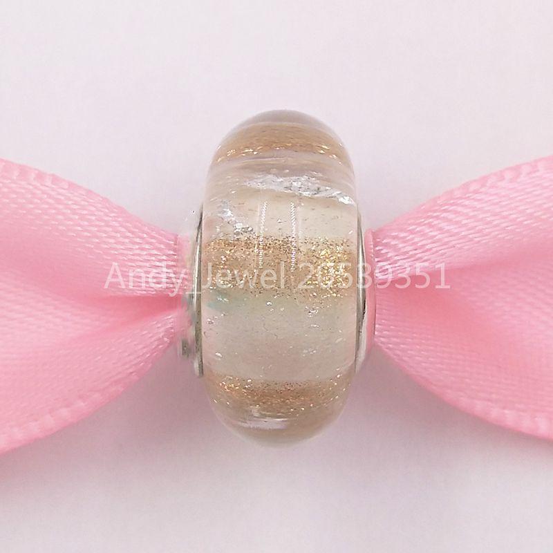 Autentiche 925 perline in argento sterling 925 Shimmering Stripe Glass Charm Charms Adatto Bracciali europei Bracciali per gioielli in stile Pandora MUR