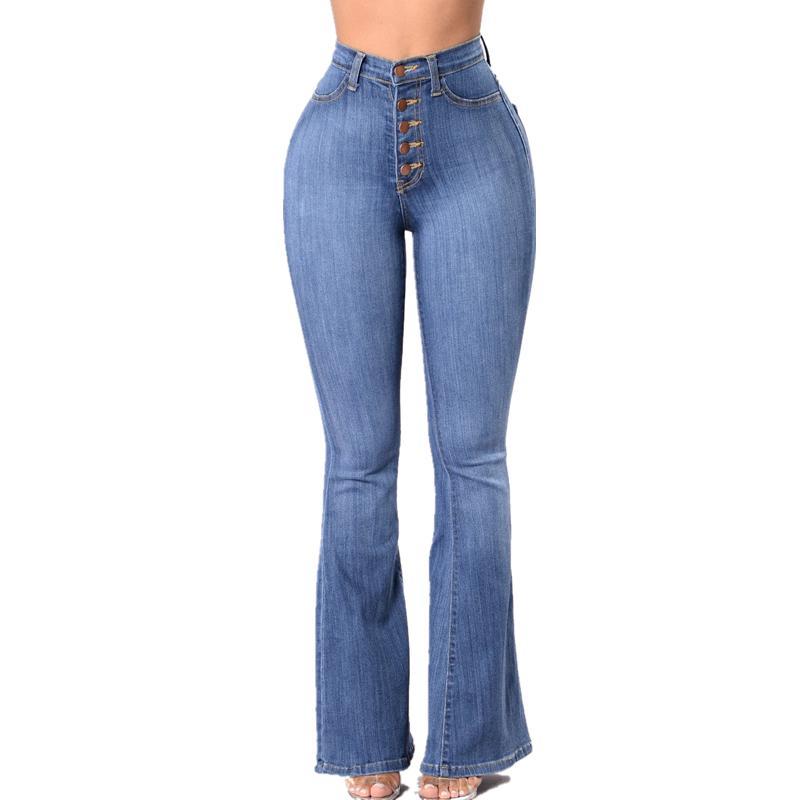 Retro talle alto de la llamarada de los pantalones vaqueros para las mujeres de gran altura Bell Bottom pantalones vaqueros del estiramiento delgados Bootcut Jeans nalgas Ascensor dril de algodón pantalones A1112