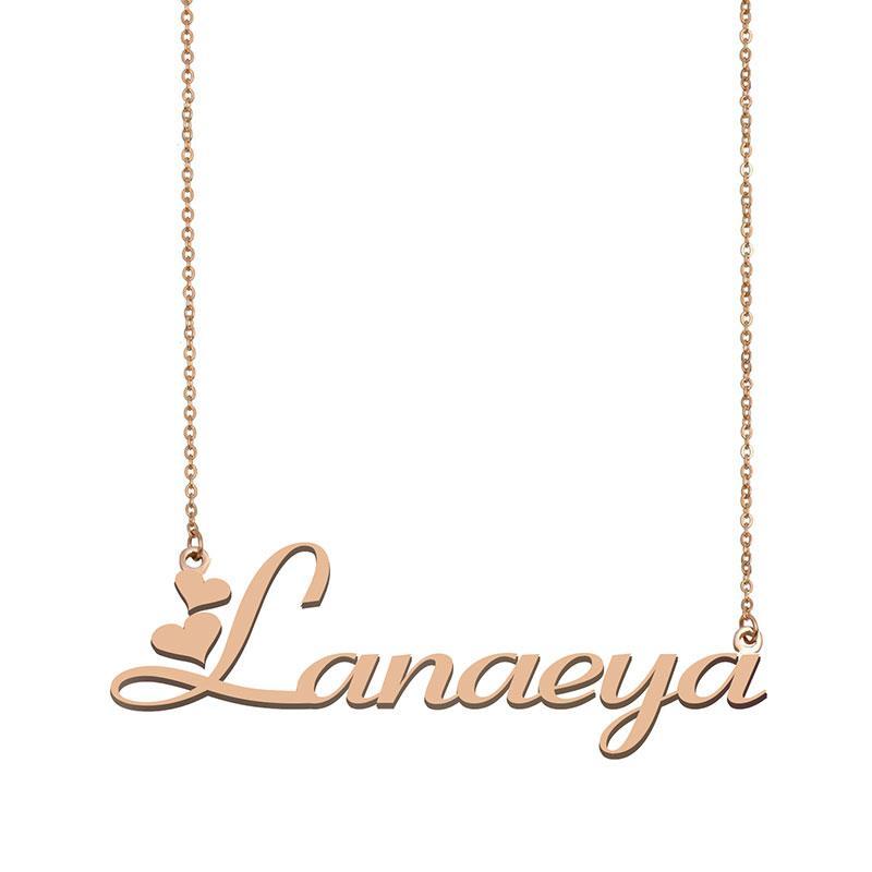 Lanaeya Name Halsketten Anhänger Sinne Personalisierte Personalisierte Für Frauen Mädchen Kinder Beste Freunde Mütter Geschenke 18K vergoldetem Edelstahl